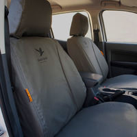 Black Duck Canvas Seat Covers Toyota Hilux 8th Gen Workmate Dual/Xtra Cab 7/2015-On Grey