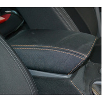 Black Neoprene Console Cover Ford Ranger PX II/III Dual Cab 7/2015-On Orange Stitch