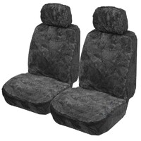 Explorer Diamond Pattern Sheepskin (Lambswool) Deploy-Safe Seat Covers Pair