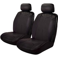 Black Bull Leather Look Seat Covers (No Logo) Airbag Deploy Safe - Black