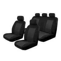 Velour Seat Covers Mitsubishi Triton MQ/MR Dual Cab 5/2015-On Deploy Safe Front & Rear Black